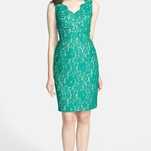 ELIZA J Sleeveless Lace Dress JADE GREEN SIZE 10